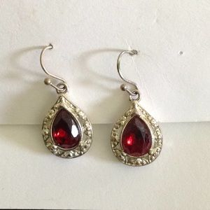 Red rhinestone earrings pierced silver